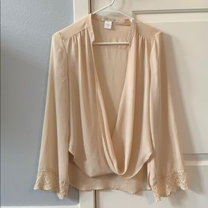 Deep V-neck Flowy Blouse